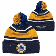 Golden State Warriors Mitchell & Ness Partial Logo Speckled Pom Knit