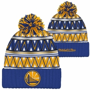 Golden State Warriors Mitchell & Ness Partial Logo Tribal Hi 5 Pom Knit � Royal/Gold/Red
