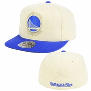 Golden State Warriors Mitchell & Ness Primary Logo Cream Oxford Fitted Hat - Cream/Royal