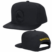 Golden State Warriors Mitchell & Ness Primary Logo Domain Tonal Snapback - Black