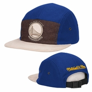 Golden State Warriors Mitchell & Ness Primary Logo Flannel Front Suede Visor Strapback