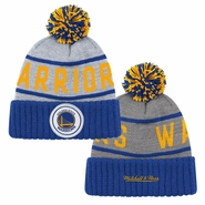 Golden State Warriors Mitchell & Ness Primary Logo High 5 Cuffed Knit Hat - Grey