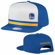 Golden State Warriors Mitchell & Ness Primary Logo Pacific Stripe Pinch Panel Snapback Hat - Royal/White