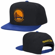 Golden State Warriors Mitchell & Ness Primary Logo Wool Solid Snapback Hat - Black/Royal