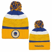 Golden State Warriors Mitchell & Ness Quilted Crown Team Jersey Stripe Hi Five Pom Beanie � Gold