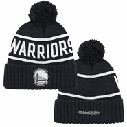 Golden State Warriors Mitchell & Ness Reflective Patch Hi Five Pom Beanie � Black