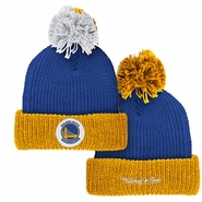 Golden State Warriors Mitchell & Ness Retro Patch Cuffed Pom Knit - Royal/Gold