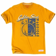 Golden State Warriors Mitchell & Ness Split Logo Tailored Tee - Gold