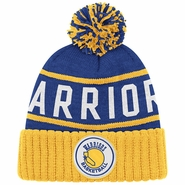 Golden State Warriors Mitchell & Ness State Logo High 5 Cuffed Knit Hat - Royal/Gold