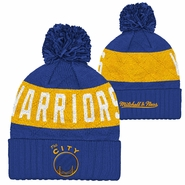 Golden State Warriors Mitchell & Ness �The City� Hardwood Classic Night Pom Knit � Royal/Gold