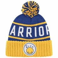 "Golden State Warriors Mitchell & Ness ""The City"" High 5 Cuffed Knit Hat - Royal/Gold"
