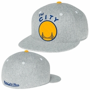 Golden State Warriors Mitchell & Ness �The City� Solid Flannel Flat Brim Fitted Cap - Light Grey