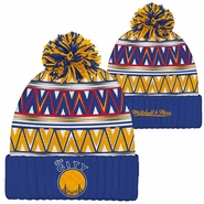 Golden State Warriors Mitchell & Ness �The City� Tribal Hi 5 Pom Knit � Royal/Gold/Red
