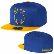 "Golden State Warriors Mitchell & Ness ""The City"" XL Logo 2-Tone Fitted Hat - Royal/Gold"