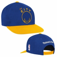 """Golden State Warriors Mitchell & Ness """"The City"""" XL Logo 2-Tone Snapback Hat - Royal/Gold"""