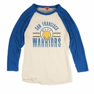 Golden State Warriors Mitchell & Ness Women's 'The City' Margin of Victory Raglan - White/Royal