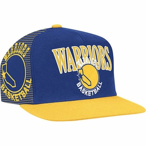 Golden State Warriors NBA Hardwood Classic Script Mitchell & Ness Snapback-Royal & Gold - Click to enlarge