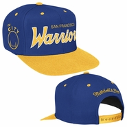 "Golden State Warriors NBA Hardwood Classic Script and ""The City"" Mitchell & Ness Snapback - Royal & Gold"