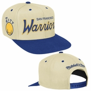 Golden State Warriors NBA Hardwood Classic Script Mitchell & Ness Snapback - White