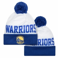 Golden State Warriors New Era Primary Logo Mesh Layer Pom Knit - White/Royal