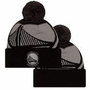Golden State Warriors New Era Primary Logo Whiz 2 Pom Knit - Black