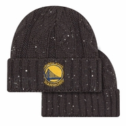 Golden State Warriors New Era Women's Primary Logo Frosted Pom Cable Knit - Charcoal