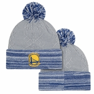 Golden State Warriors New Era Women's Primary Logo Snow Crown Redux Pom Knit - Grey/Blue