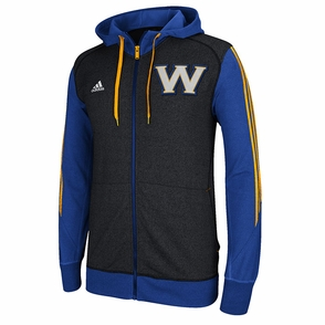 Golden State Warriors adidas Pre-Game Full Zip Hooded Jacket-Grey - Click to enlarge