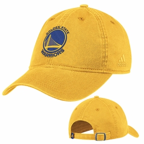 Golden State Warriors Primary Logo Adjustable Adidas Slouch Cap - Gold - Click to enlarge