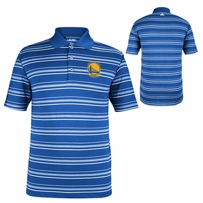 Golden State Warriors adidas Striped Golf Polo - Blue/White - Click to enlarge