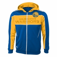 Golden State Warriors Youth T.C.F 3 Stripe Full Zip Hood-Gold