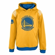Golden State Warriors Youth T.C.F 3 Stripe Pullover Hood-Gold