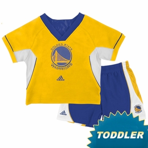 Golden State Warriors Toddler Primary Logo Raglan Crew Short Set - Click to enlarge