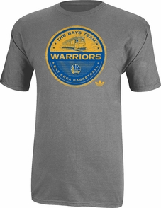 Golden State Warriors adidasToken Badge Short Sleeve V-Neck-Grey - Click to enlarge