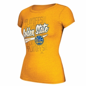 Golden State Warriors Women's Adidas Ghost Tail Slant Playoff Tee - Gold - Click to enlarge