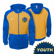 Golden State Warriors Youth adidas Pre-Game Full Zip Hoodie - Royal/Gold