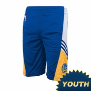 Golden State Warriors Youth adidas Pre-Game Short - Royal/Gold