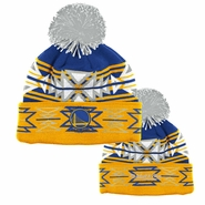Golden State Warriors Mitchell & Ness Geotech Cuffed Pom Knit Hat - Royal/Gold