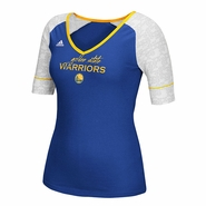 Golden State Warriros adidas Women's V-Neck Short Sleeve Tee - Royal