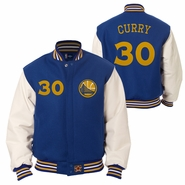 Golden State Warriors JH Design Stephen Curry #30 Wool Jacket with Leather Sleeves - Royal/White
