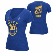 "Golden State Warriors Womens Adidas ""The City"" Stephen Curry Tee - Royal"