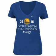 Golden State Warriors Majestic Women's 2016 NBA Playoffs Strength In Numbers V-neck Tee - Royal