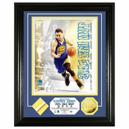 Golden State Warriors Highland Mint Stephen Curry 2015 NBA MVP Game Used Net Gold Coin Photo Mint