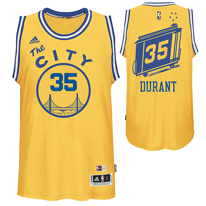Kevin Durant Jersey: adidas Hardwood Classics Swingman #35 Golden State Warriors Alternate Jersey - Gold