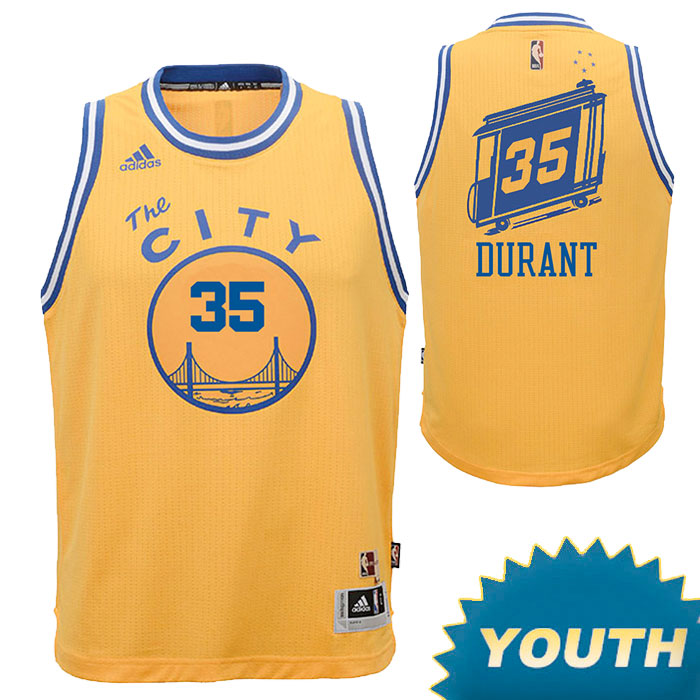 Kevin Durant Youth Jersey: adidas Hardwood Classics 'The City' #35 Swingman Jersey - Gold