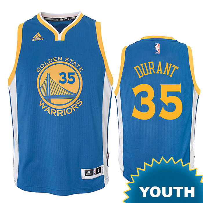 Kevin Durant Youth Jersey: adidas Road Swingman #35 Golden State Warriors NBA Jersey - Royal