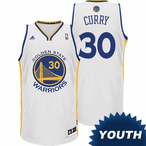 Stephen Curry Youth Jersey: adidas Revolution 30 Home White Swingman #30 Golden State Warriors NBA Jersey - Click to enlarge