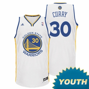 Stephen Curry Youth Jersey: adidas  Home White Swingman #30 Golden State Warriors NBA Jersey - Click to enlarge