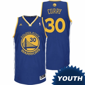 Stephen Curry Youth Jersey: adidas Revolution 30 Road Royal Blue Swingman #30 Golden State Warriors NBA Jersey - Click to enlarge