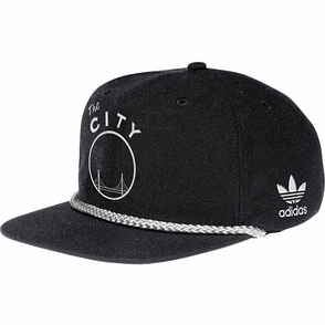 Golden State Warriors adidas Pinched Front Snapback-Black - Click to enlarge